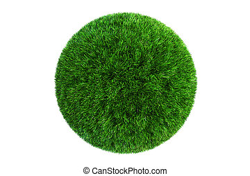 Grass Ball, 3D rendering isolated on white background
