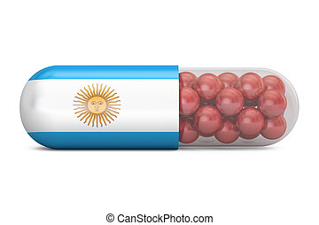 Pill capsule with Argentina flag. Argentine health care concept, 3D rendering