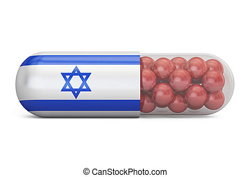 Pill capsule with Israel flag. Israeli health care concept, 3D rendering