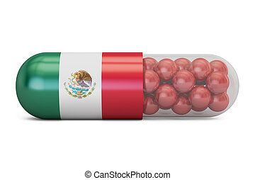 Pill capsule with Mexico flag. Mexican health care concept, 3D rendering