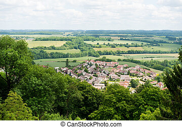 Haute-Marne in France - View to a little typical French...
