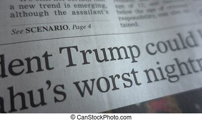 Newspaper mention of Trump - Man circle Donald Trump in a...