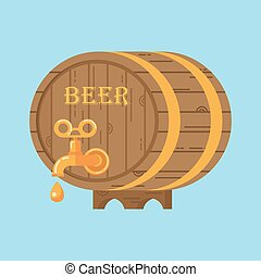 beer barrel on blue