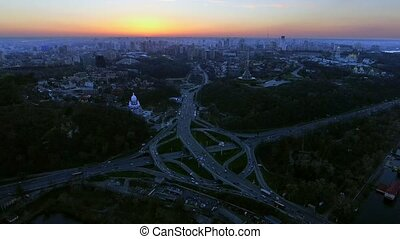 Megalopolis skyline. Aerial shot over Kiev, Ukraine after...