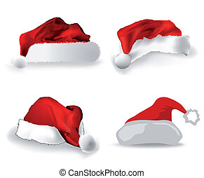 Various Christmas caps on white. Vector