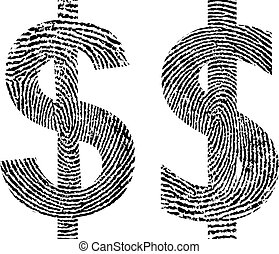 thumbprint - symbol dollar with shape fingerprint
