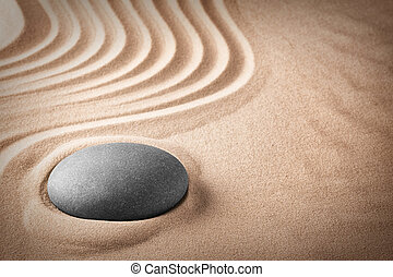 zen meditation stone and sand garden. Concept background for...