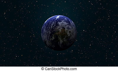 Solar System - Earth. Outer space on the background....