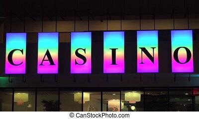Casino neon sign. 4K.
