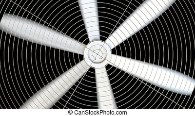 Spinning white fan against black background. 4K seamless...