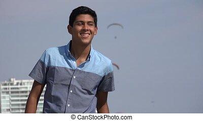 Hispanic Teen Boy On Vacation