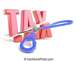 Scissors cut word TAX 3D render illustration isolated on...