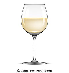 Vector realistic wineglass with white wine icon isolated on...