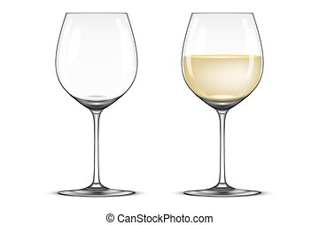 Vector realistic wineglass icon set - empty and with white wine, isolated on white background. Design template in EPS10.