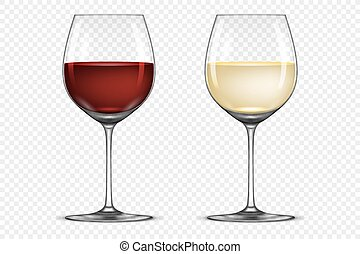 Vector realistic wineglass icon set - with white and red wine, isolated on transparent background. Design template in EPS10.