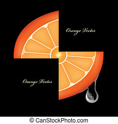 Flowing down drop on an orange segments Vector - Flowing...