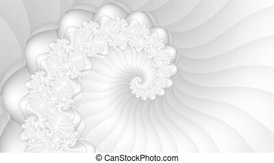 White fractal spiral seamless loop background 4K