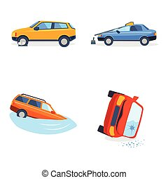 Car crash collision traffic insurance safety automobile emergency disaster and emergency disaster speed repair transport illustration.