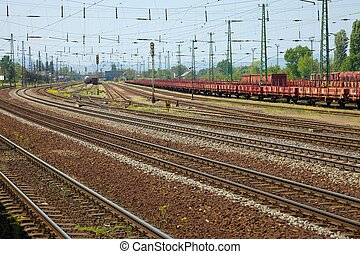 Railway - Many railway tracks and freight wagons