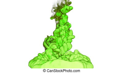 Close-up cloud of vivid green Ink underwater with alpha mask. Use for for transitions, background, overlay and effects. 3d VFX Ink or smoke background with very high detail Ver 17