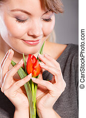 Smiling woman embracing flower. - Happiness leisure flora...