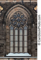 Gothic arch - Architectural detail - Gothic window Prague,...