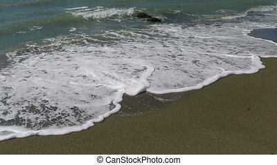 Sea Waves - Sea waves on the sand at shore, slow motion...