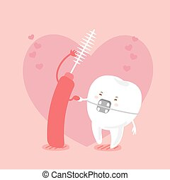 tooth and brush - cute cartoon tooth wear brace and...