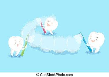 teeth brush invisible braces - cute cartoon teeth brush...