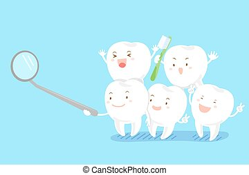 cute cartoon tooth smile happily with mirror on blue...