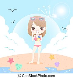 woman with sunscreen - cute cartoon woman with sunscreen on...