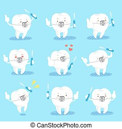 cute cartoon tooth wear brace and take interdental brushes