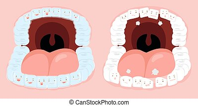 cute cartoon tooth wear invisible braces with arranged...