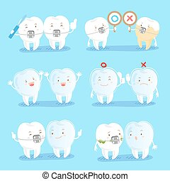 cartoon tooth wear brace with different gesture on blue...