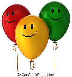 Happy balloons Hi-Res - Three shiny colorful balloons with...
