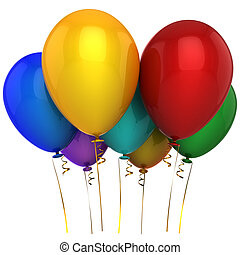 Helium multicolor balloons Hi-Res - Seven shiny colourful...