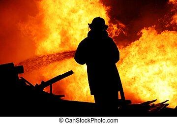 bombero, lucha, fuego