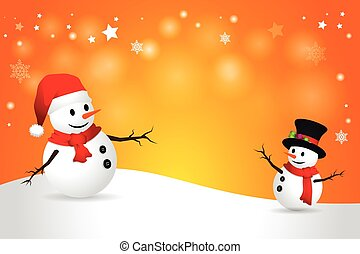 Snowman. - Winter landscape with a snowman-vector...