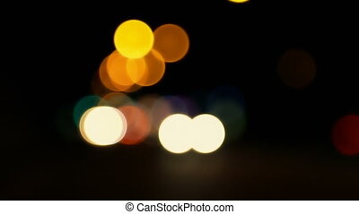 Traffic lights on the road, bright and colorful blurred -...