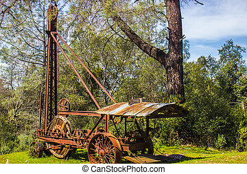 Rusted Vintage Drilling Tower & Equipment