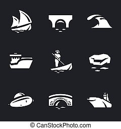 Vector Set of Water and transport Icons. - Sailboat, bridge,...