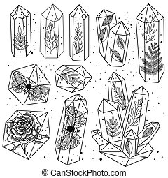 Gems, crystals line art vector - Set of hand drawn line art...