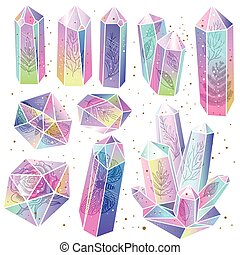 Gems, crystals isolated vector - Set of rainbow crystals...
