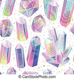 Gems, crystals seamless pattern vector - Seamless pattern...