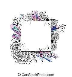 Frame floral, moths and crystals vector - Frame with...