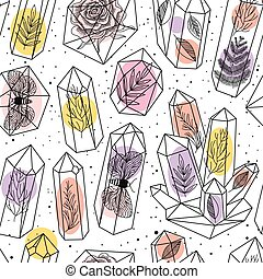 Gems, crystals seamless pattern vector - Seamless background...