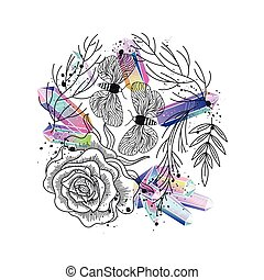 Greeting card with rose, leafs, crystals vector - Floral...