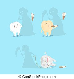 tooth with smoke problem - cute cartoon tooth with smoke...