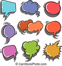 Illustration vector of speech balloon collection doodle...