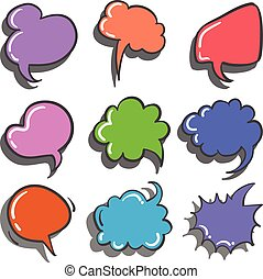 Set text balloon doodle style vector illustration